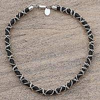 Sterling silver and rubber cord necklace 'Mexican Creeper' - Sterling Silver and Rubber Cord Necklace from Mexico