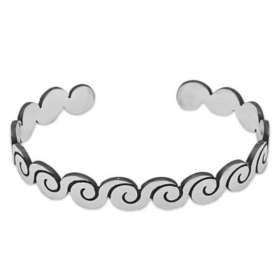Sterling Silver Cuff Bracelet with Wave Motifs from Mexico