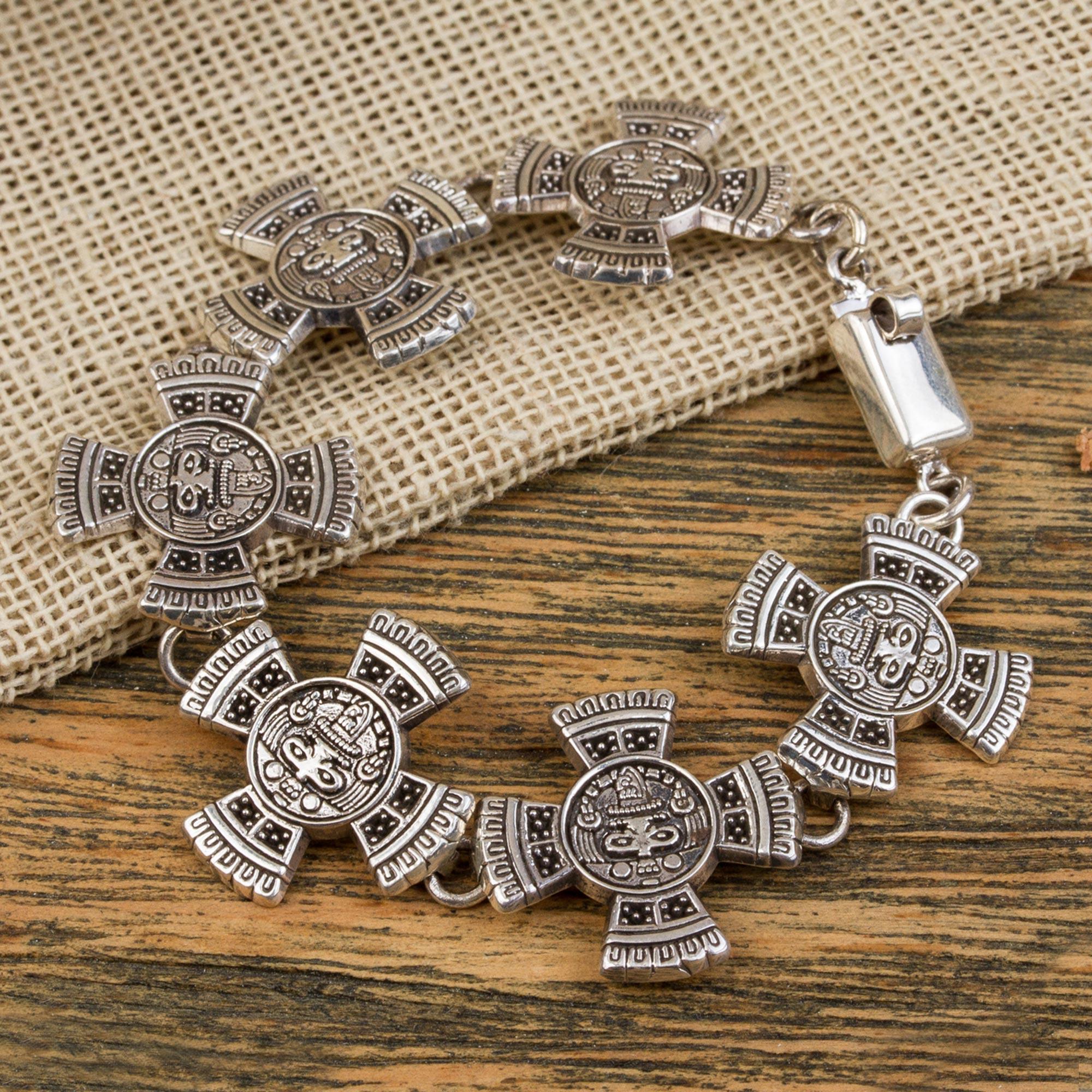 Aztec Calendar Stone.Sterling Silver Link Bracelet With Aztec Motifs Mexico Aztec Calendar Stone