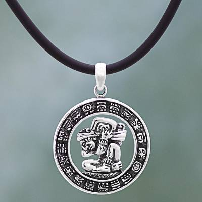 Sterling silver and rubber aztec pendant necklace mexico time sterling silver pendant necklace time carrier sterling silver and rubber aztec pendant mozeypictures Images