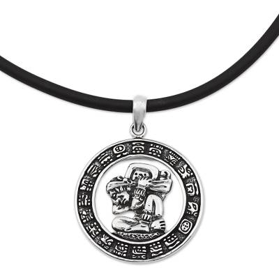 Sterling Silver and Rubber Aztec Pendant Necklace Mexico
