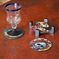 Decoupage wood coasters, 'Festive Catrina' (set of 4)