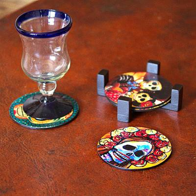 Decoupage wood coasters, 'Festive Catrina' (set of 4) - Day of the Dead Theme on Mexican Decoupage Set of 4 Coasters