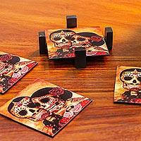 Decoupage wood coasters, 'Day of the Dead Romance' (set of 4)