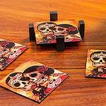 Set of 4 Decoupage Coasters with Day of the Dead Theme, 'Day of the Dead Romance'