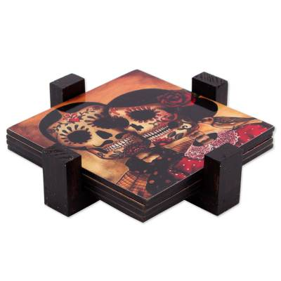 Decoupage wood coasters, 'Day of the Dead Romance' (set of 4) - Set of 4 Decoupage Coasters with Day of the Dead Theme