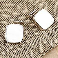 Sterling silver cufflinks, 'Shining Sophistication' - Sterling Silver Square Men's Cufflinks from Mexico