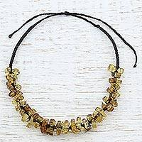 Amber beaded necklace, 'Call of the Ancients' - Dark Brown Adjustable Amber Beaded Necklace from Mexico