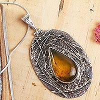 Amber pendant necklace, 'Earth Empress' - Natural Mexican Amber on Sterling Silver Pendant Necklace