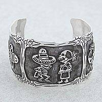 Sterling silver cuff bracelet, 'Skeletal Hat Dance' - Mexican Day of the Dead Sterling Silver Cuff Bracelet
