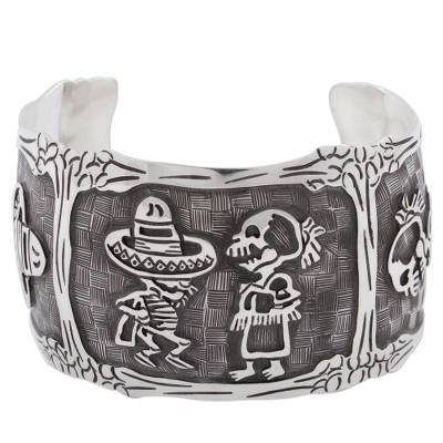 Mexican Day of the Dead Sterling Silver Cuff Bracelet