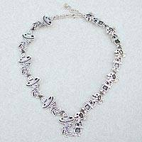 Sterling silver link necklace, 'Skeletal Hat Dance' - Mexican Day of the Dead Sterling Silver Link Necklace
