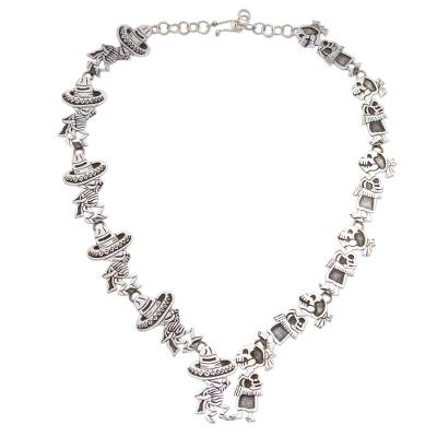 Mexican Day of the Dead Sterling Silver Link Necklace