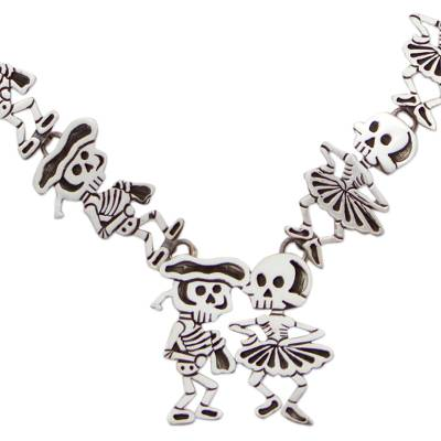 Day of the Dead Signed Matador Skeletons Necklace