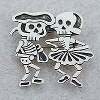 Sterling silver brooch pendant, 'Skeletal Matador Dance' - Signed Brooch Pendant from Mexican Day of the Dead