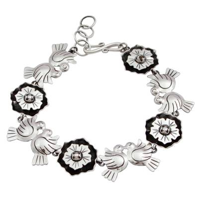 925 Silver Bracelet with Flowers and Lovebirds from Mexico