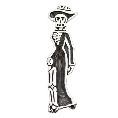 Sterling Silver Mexico Day of the Dead Brooch Pendant