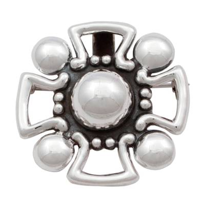 Mexican Style 925 Silver Christian Cross Brooch Pendant