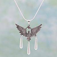 Sterling silver pendant necklace, 'Paloma' - Surreal Bird on Artisan Crafted Sterling Silver Necklace