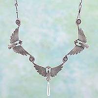 Sterling silver pendant necklace, 'Tres Palomas' - Surreal Birds on Artisan Crafted Sterling Silver Necklace