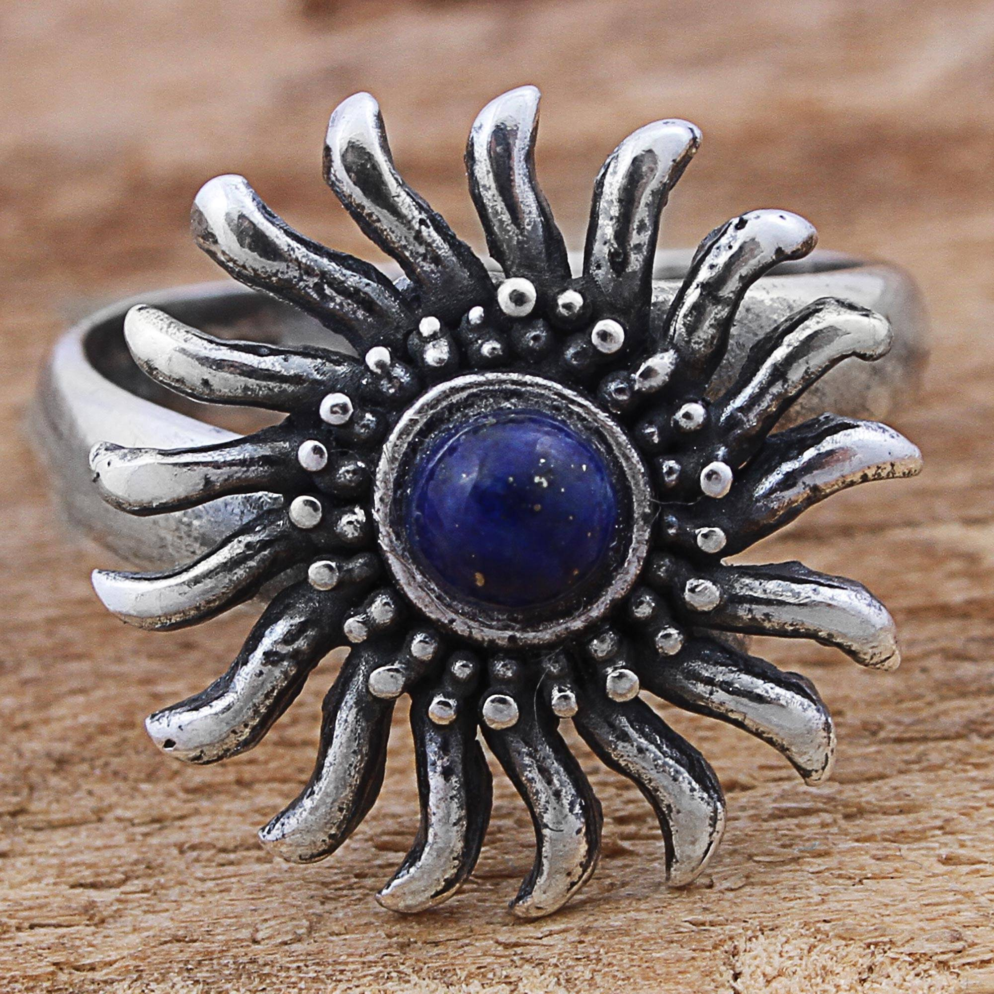Sterling Silver Lapis Lazuli Cocktail Ring Sun from Mexico, 'Glittering Sun'