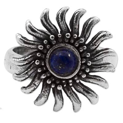 Lapis lazuli cocktail ring, 'Glittering Sun' - Sterling Silver Lapis Lazuli Cocktail Ring Sun from Mexico