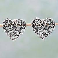 Sterling silver button earrings, 'Vine Heart' - Sterling Silver Button Earrings Heart Shape from Mexico