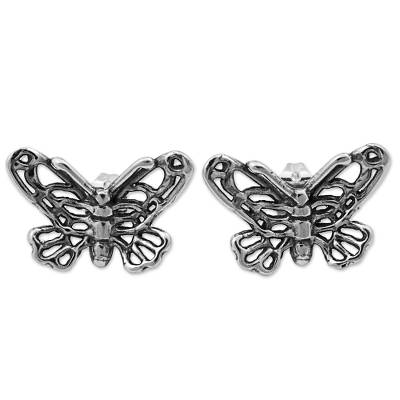 Sterling Silver Button Earrings Butterfly Shape from Mexico