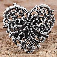 Sterling silver cocktail ring, 'Vine Heart' - Sterling Silver Cocktail Ring Heart Shape from Mexico