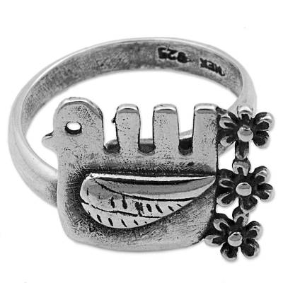 Sterling silver cocktail ring, 'Flower Bird' - Sterling Silver Cocktail Ring Bird Shape from Mexico
