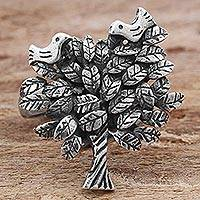 Sterling silver cocktail ring, 'Leafy Home' - Sterling Silver Cocktail Ring Tree Shape from Mexico