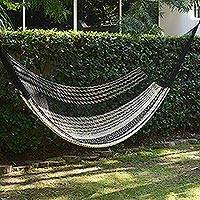 Hammock, 'Night Stripes' (single) - Black & Ivory Hand Woven Hammock from Mexico
