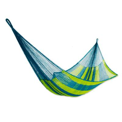 Hammock, 'Fluorescent Tropics' (single) - Neon Green and Blue Hand Woven Nylon Maya Hammock (Single)