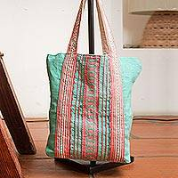 Cotton tote bag, 'Bright Stitches' - Mint and Hot Pink Striped Cotton Tote Bag Woven in Mexico