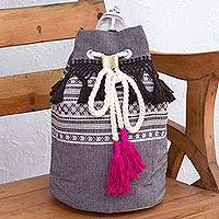 Cotton backpack, 'Day Trip Fringe' - Striped Drawstring Cotton Backpack Handcrafted in Mexico