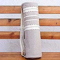 Cotton yoga mat bag, 'Unwind' - Handwoven Yoga Mat Bag from Mexico in Grey and White
