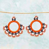 Cotton dangle earrings, 'Fanfare in Orange' - Handcrafted Orange Cotton Dangle Earrings with Fan Motif