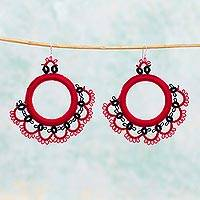 Cotton dangle earrings, 'Fanfare in Red' - Handcrafted Red Cotton Dangle Earrings with Fan Motif
