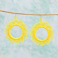 Cotton dangle earrings, 'Yellow Sun' - Handcrafted Yellow Cotton Dangle Earrings with Sun Motif