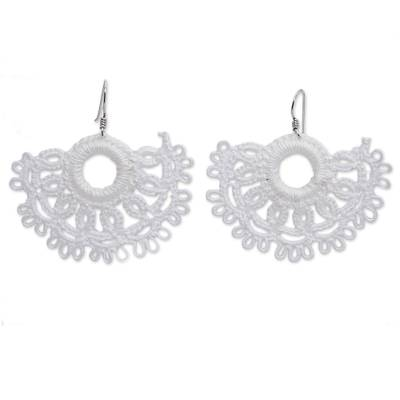 Handcrafted White Cotton Dangle Earrings with Sun Motif