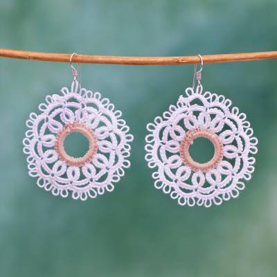 Cotton dangle earrings, 'White Doily' - Handcrafted White Cotton Dangle Earrings with Doily Motif