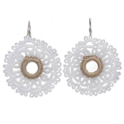 Handcrafted White Cotton Dangle Earrings with Doily Motif