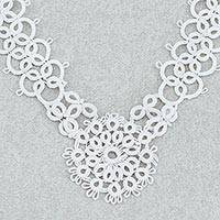 Cotton pendant necklace, 'White Lace Beauty' - Handcrafted White Cotton Pendant Necklace with Lace Pattern
