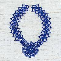 Cotton pendant necklace, 'Blue Lace Beauty' - Handcrafted Blue Cotton Pendant Necklace with Lace Pattern