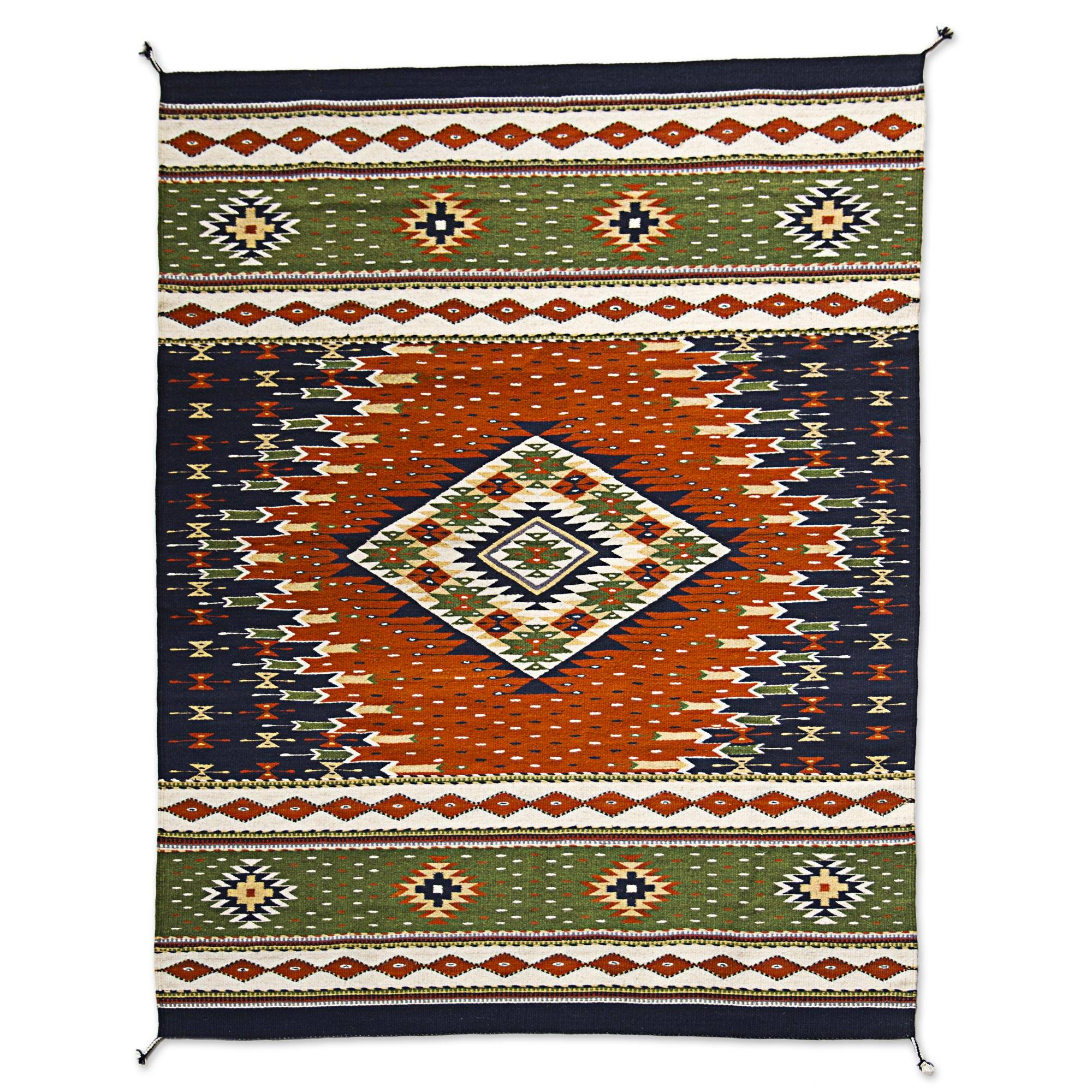 Forest Theme Zapotec Wool Area Rug In Earth Tones 4x6 Forest Nights