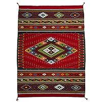 Wool area rug, 'Dynamic Diamond' (4x6) - 100% Wool Area Rug with Diamond Pattern in Red (4x6)