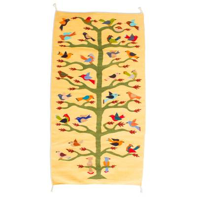100% Wool Area Rug in Yellow with Bird and Tree Theme (3x5)