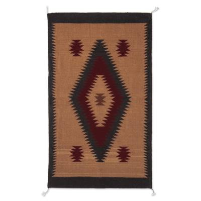 Zapotec  wool area rug, 'Desert Diamonds' (2x3) - 100% Wool Area Rug in Red Black and Tan with Diamonds (2x3)