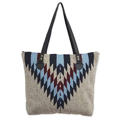 Novica Wool tote handbag, Zapotec Diamonds - Mexican Zapotec Wool Tote Handbag