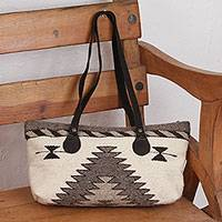 Zapotec wool shoulder bag, 'Natural Gems in Antique White' - Hand Made Wool Tote Handbag in Antique White from Mexico